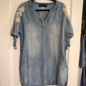 Blue Rain Distressed Denim Tunic